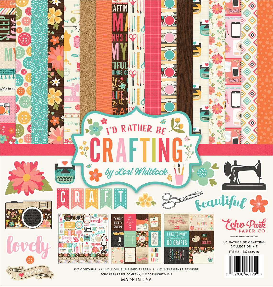 "Echo Park Collection Kit 12""X12""-I'd Rather Be Crafting"