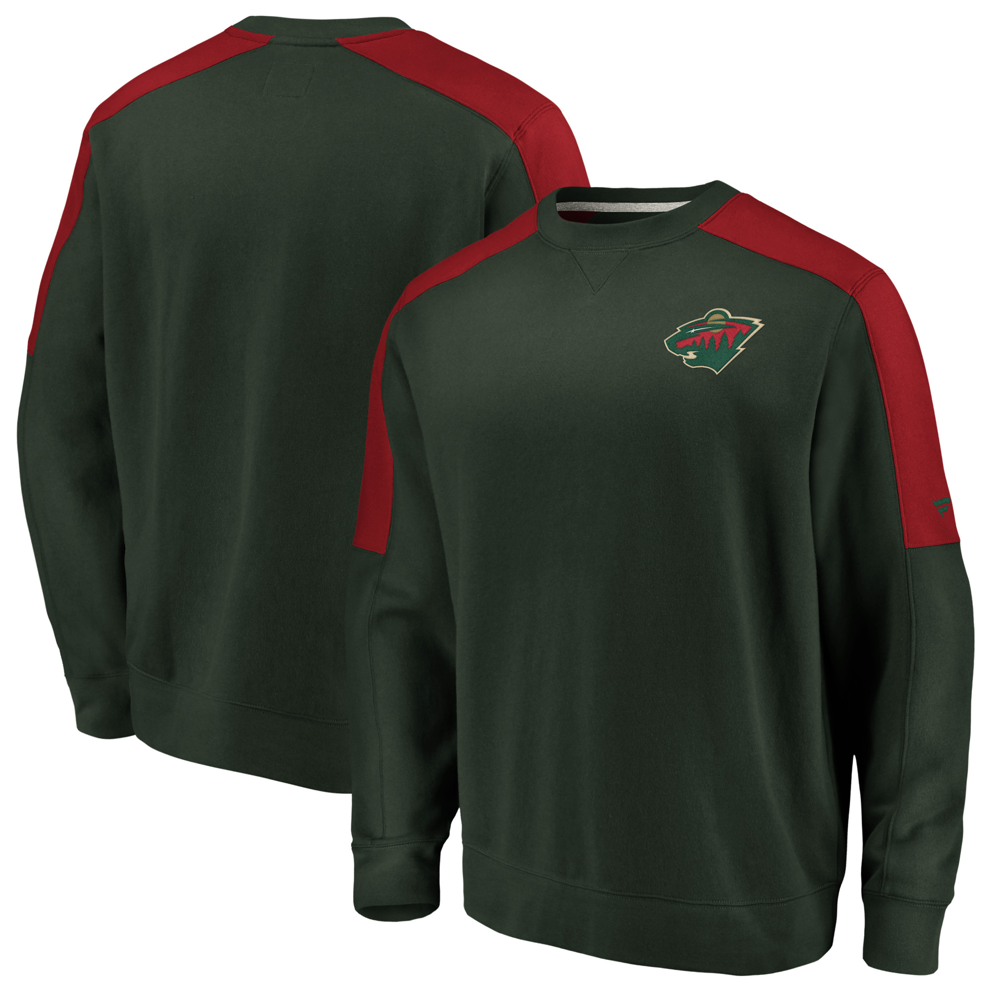Minnesota Wild Fanatics Branded Iconic Crew Fleece Sweatshirt - Green/Red