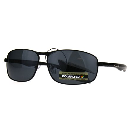 Polarized Xloop Rectangular Metal Rim Warp Sport Mens Sunglasses All Black