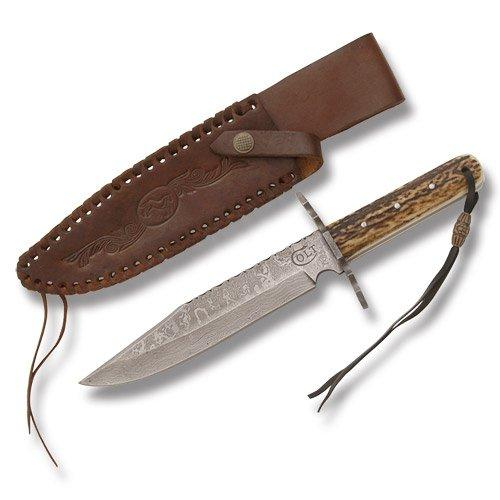 Colt Knives 278 Damascus Hunter Fixed Blade Knife with Genuine Stag Handles Multi-Colored