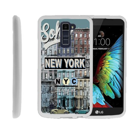 LG K10, LG Premier LTE, K430, Flexible Case [FLEX FORCE] Slim Durable TPU Sleek Bumper with Unique Designs - Vintage New YOrk