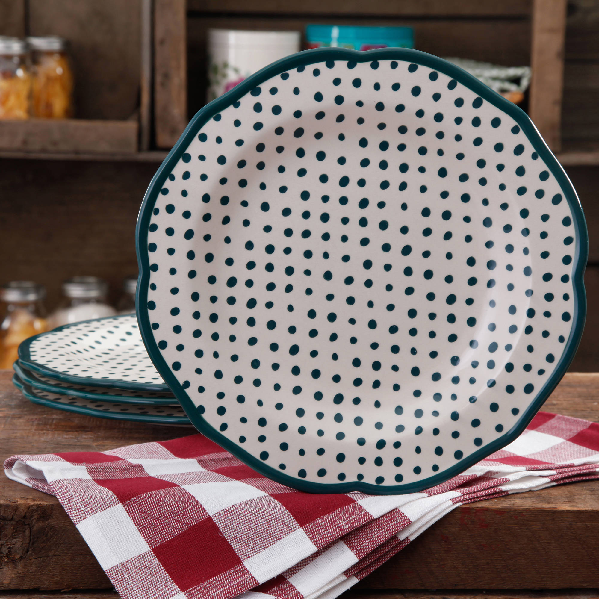 The Pioneer Woman Retro Dots Dinner Plate Set, 4-Pack