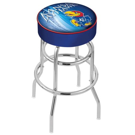 Wildcats Double Rung Vinyl - Kansas 25 Inch L7C1 Cushion Seat With Double Rung Chrome Base Bar Stool
