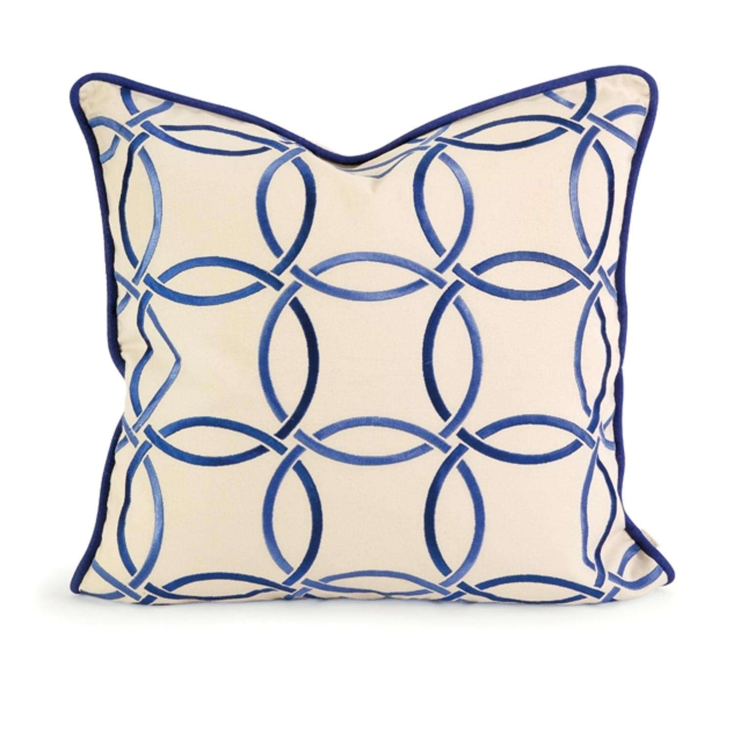 "18"" Decorative Cream and Blue Embroidered Down Linen Throw Pillow"