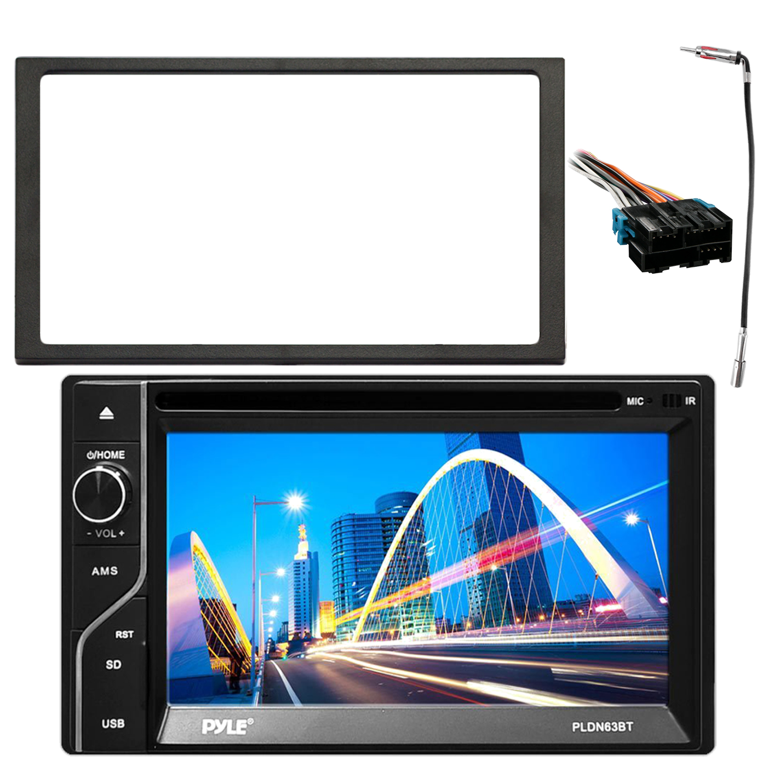 Pyle 6.5'' Touch Screen TFT/LCD Monitor MP3/USB AM/FM Bluetooth Receiver, Enrock Double DIN Installation Dash Kit, Metra Radio Wiring Harness For 1988-2005 GM Vehicles, Enrock Antenna Adapter