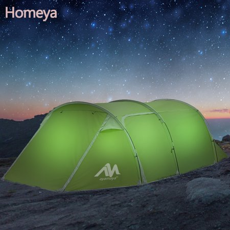 Backpacking Camping Tents Tunnel Dome,Homeya 3/4/Person Easy Up Instant Setup Ventilated [2Door] Water-Resistence Automatic Pop Up Big Family Privacy Dome Tent Shelter for Picnic Camping