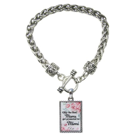 Only the Best Moms Get Promoted to Mimi Silver Toggle Bracelet Jewelry Gift