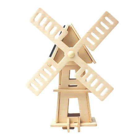 RoboTime: Solar Energy Drived - Natural Wooden Windmill - W120 - image 1 de 1