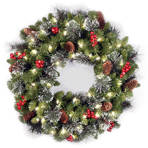 """National Tree Pre-Lit 24"""" Crestwood Spruce Wreath with 50 Clear Lights"""