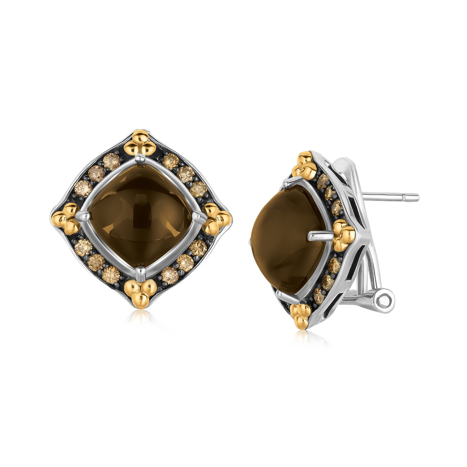 18K Yellow Gold and Sterling Silver Smokey Quartz Earrings with Coffee Diamonds