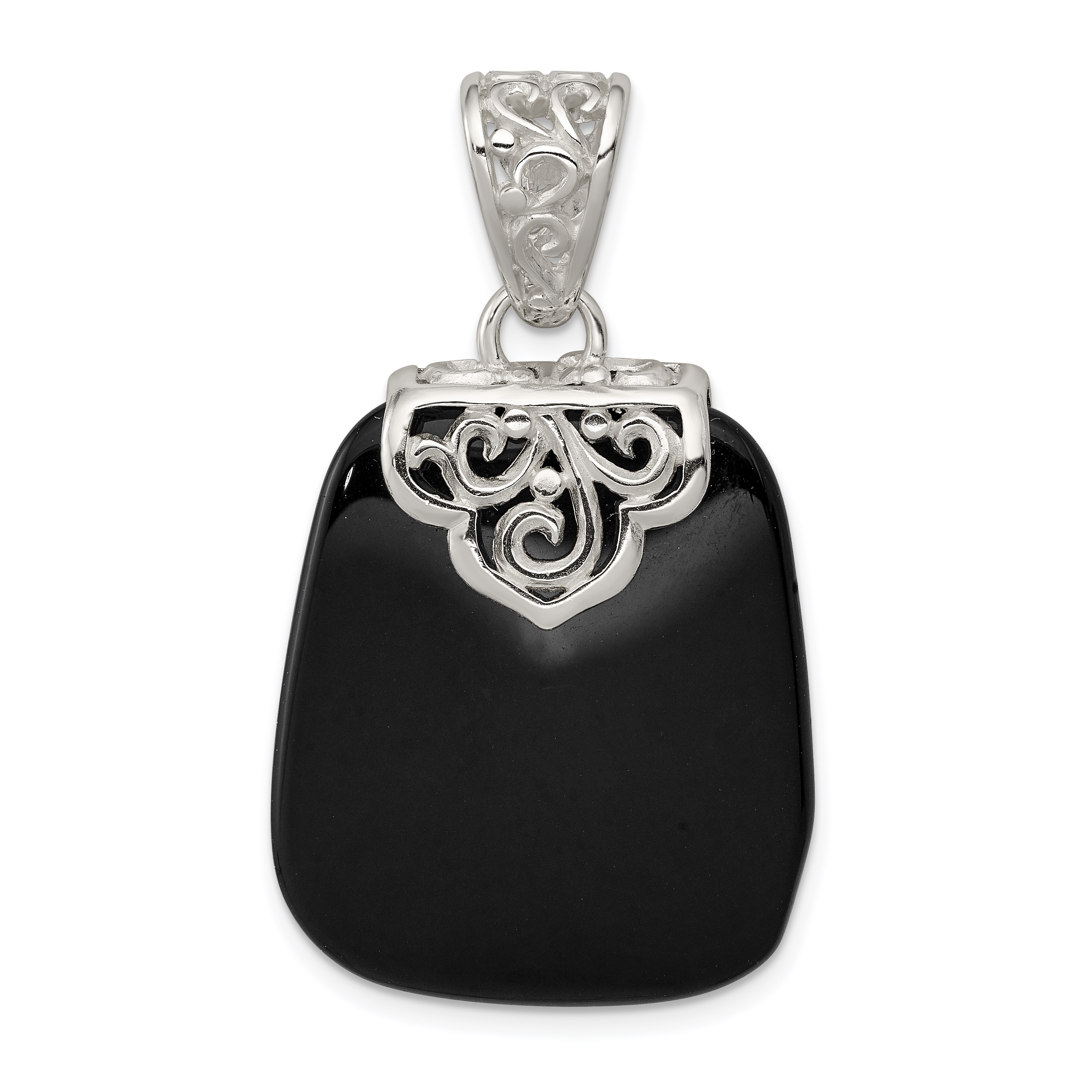 925 Sterling Silver Black Onyx Pendant Charm Necklace Natural Stone Fine Jewelry Gifts For Women For Her - image 2 de 2