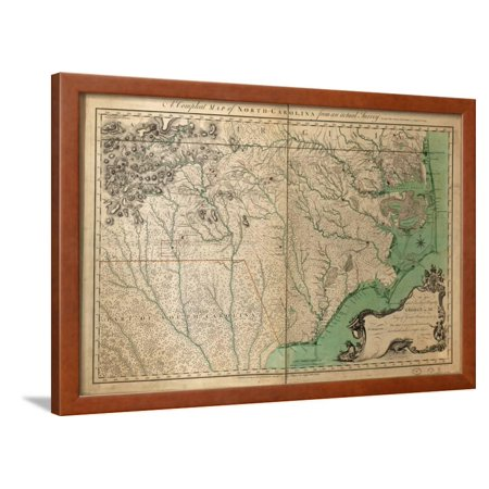 1770, North Carolina State Map with Landowner Names, North Carolina, United  States Framed Print Wall Art