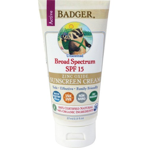 Badger Balm Zinc Oxide Sunscreen Cream SPF 15, 2.9 Fl Oz Each