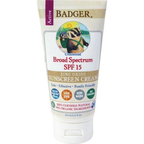 Badger Balm Zinc Oxide Sunscreen Cream SPF 15, 2.9 Fl Oz Each