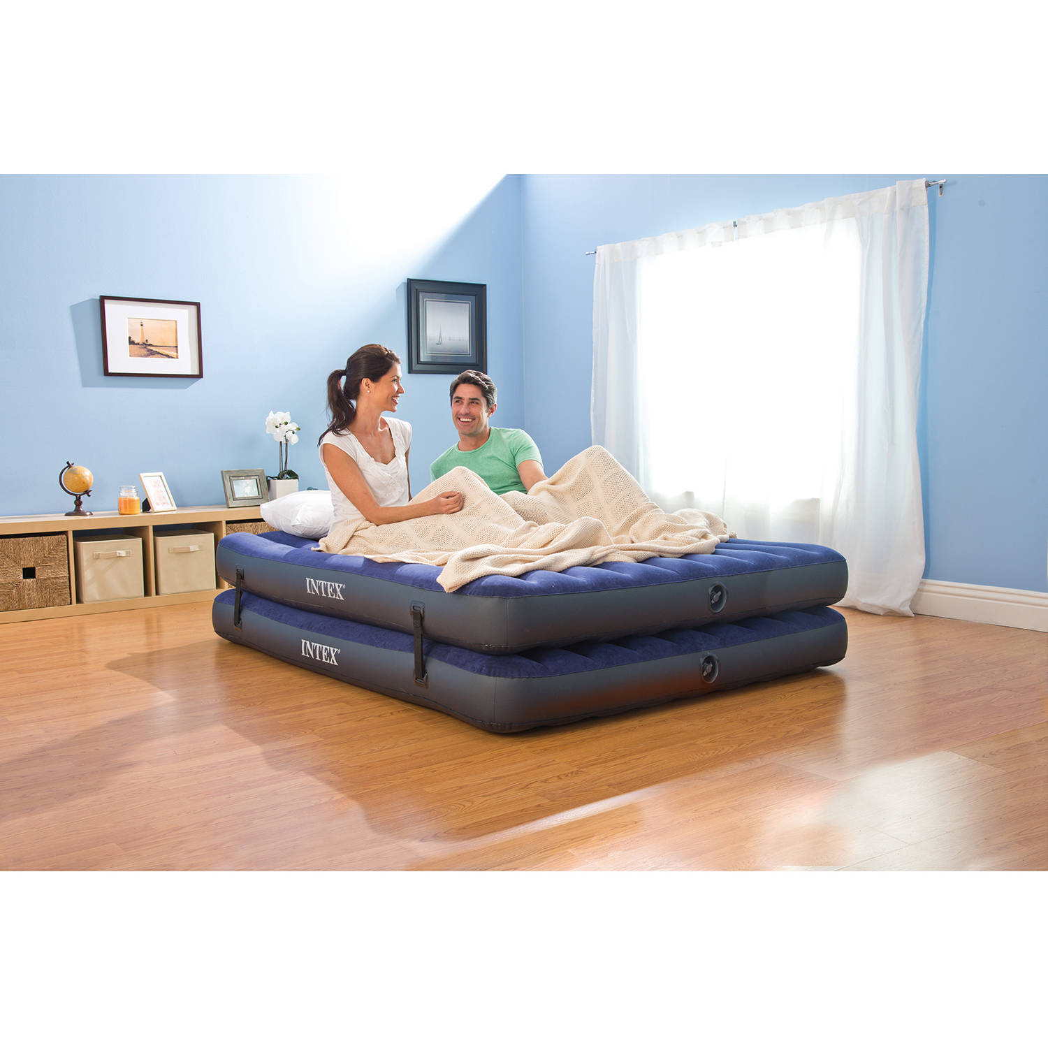 intex queen 2 in 1 guest airbed mattress with hand pump walmartcom