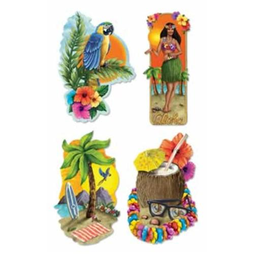 Beistle - 55946 - Luau Party Cutouts- Pack of 12