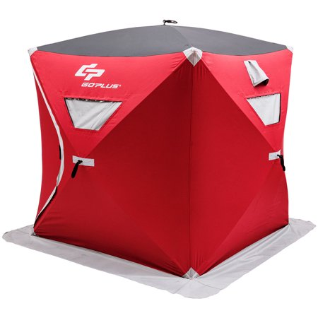 Goplus Portable Pop-up 3-person Ice Shelter Fishing Tent Shanty w/ Bag Ice Anchors (Best Ice Fishing Tip Ups)