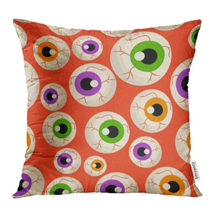ARHOME Green Animal Halloween Eye Pattern Red Abstract Cartoon Closeup Color Colored Pillow Case Pillow Cover 16x16 inch Throw Pillow Covers (Halloween Eyes Cartoon)