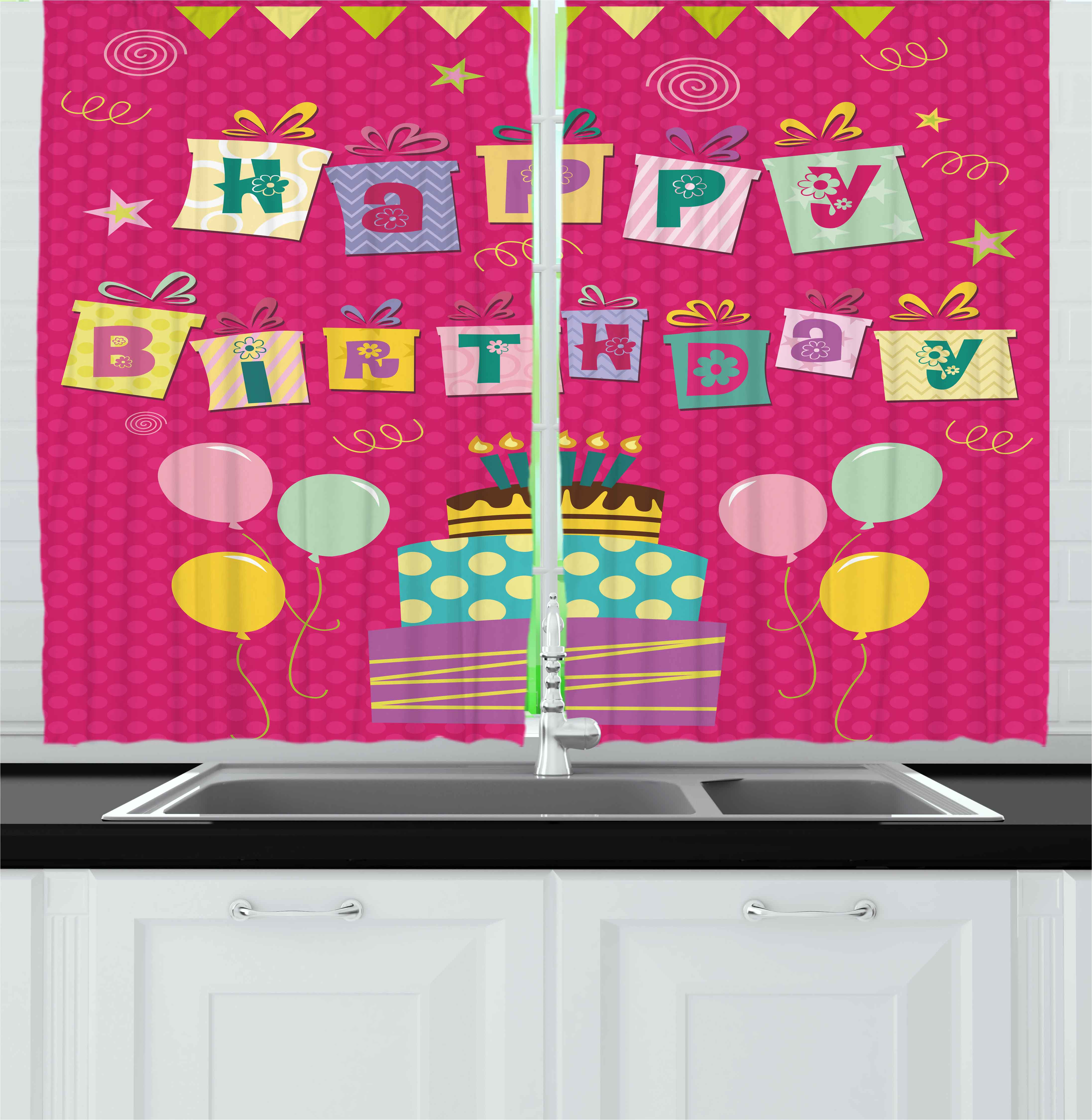 Kids Birthday Curtains 2 Panels Set, Colorful Letters in Shape of ...