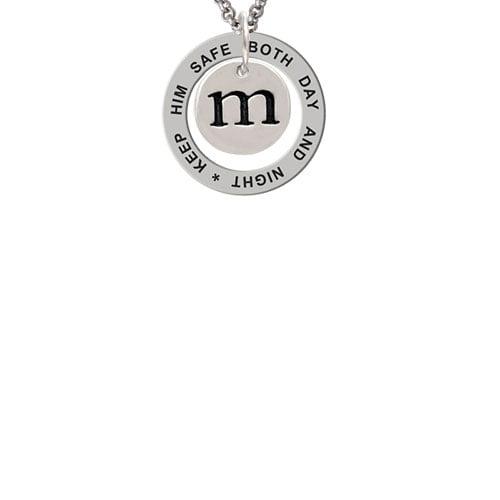 Disc 1/2'' Initial - m - Keep Him Safe Affirmation Ring Necklace