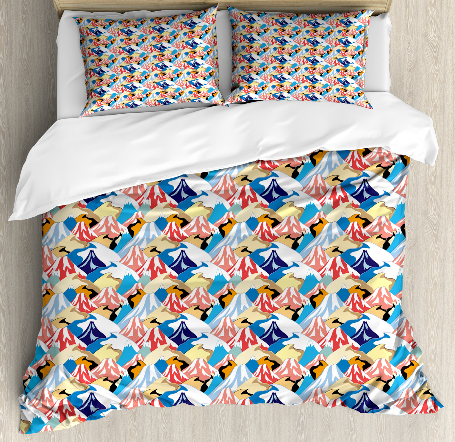 Mountain Duvet Cover Set, Cartoonish Style Adventure Nature Themed Pattern with Colorful ...