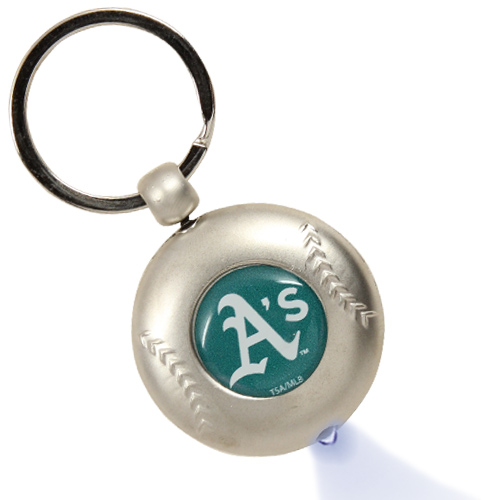 Oakland Athletics Silver Baseball Flashlight Keychain - No Size