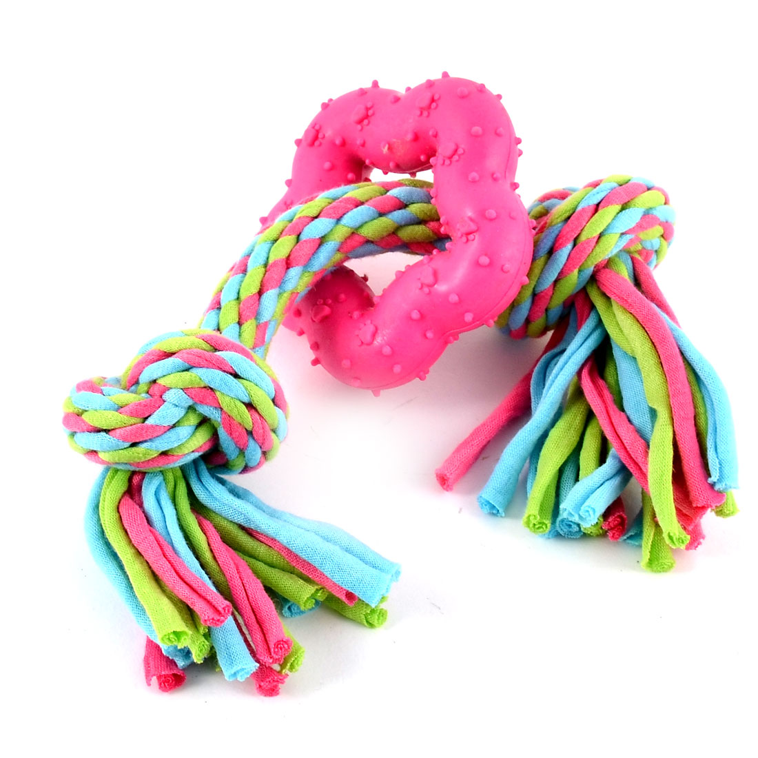Pet Puppy Dog Teeth Cleanning Chew Ball Knotted Braided Rope Exercise Tool