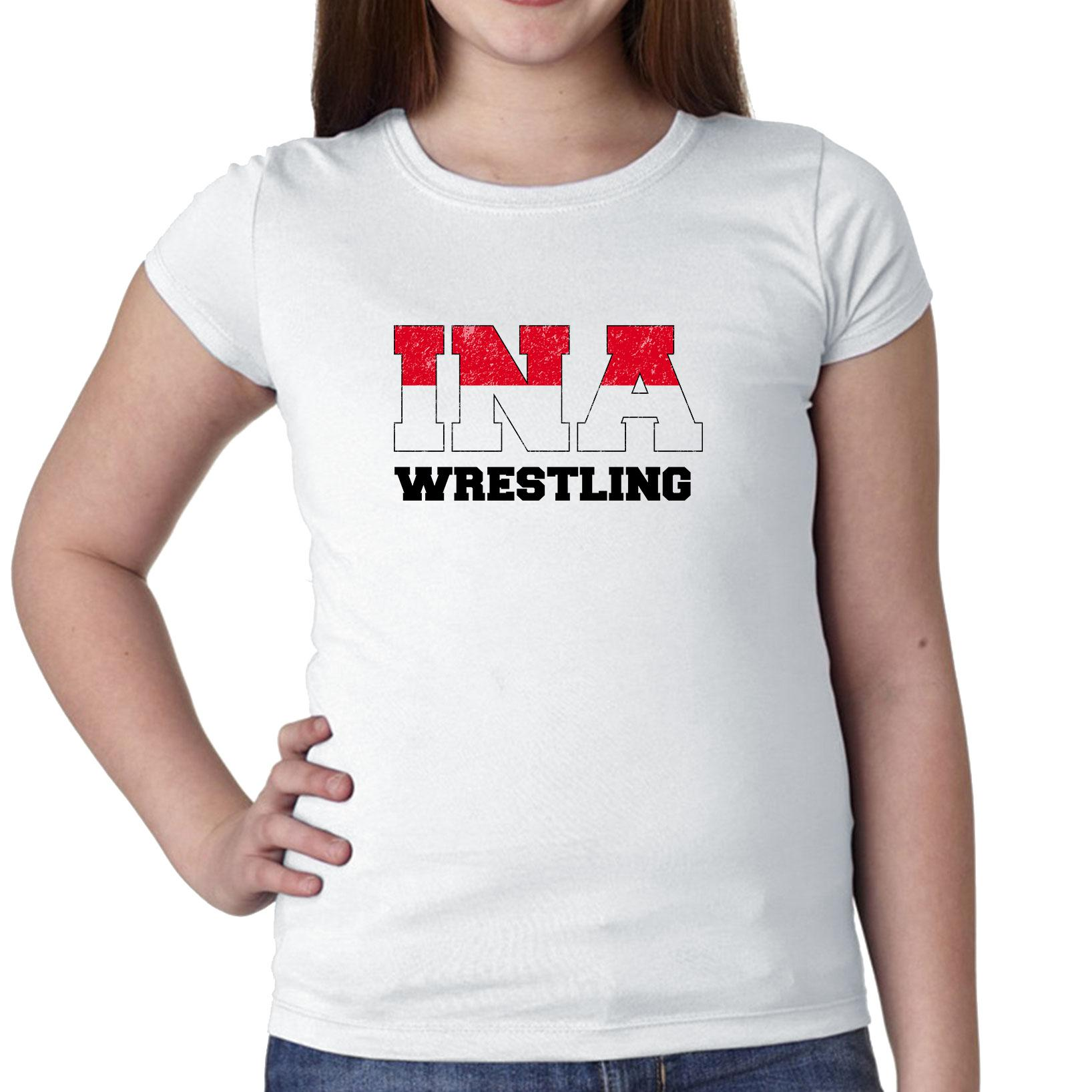 Indonesia Wrestling Olympic Games Rio Flag Girl's Cotton Youth T-Shirt by Hollywood Thread