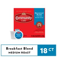 Community Coffee Breakfast Blend Medium Roast Coffee Single-Serve Cups 18 ct Box Compatible with Keurig 2.0 K-Cup Brewers