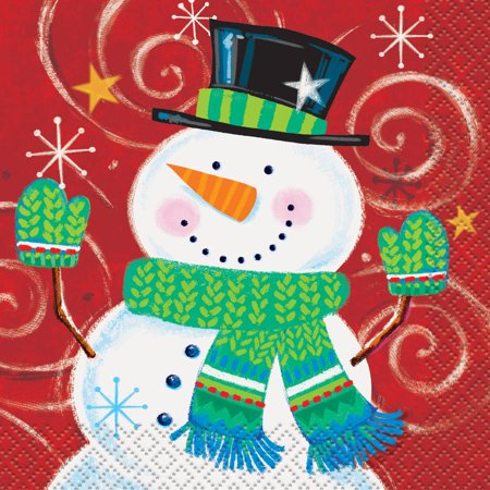 Snowman Swirl Holiday Beverage Napkins, 16ct (Napkin Wrappers)