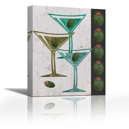 Martini And Olives I Contemporary Fine Art Giclee On Canvas Gallery Wrap Wall Decor Art Painting 17 X 21 Inch Ready To Hang