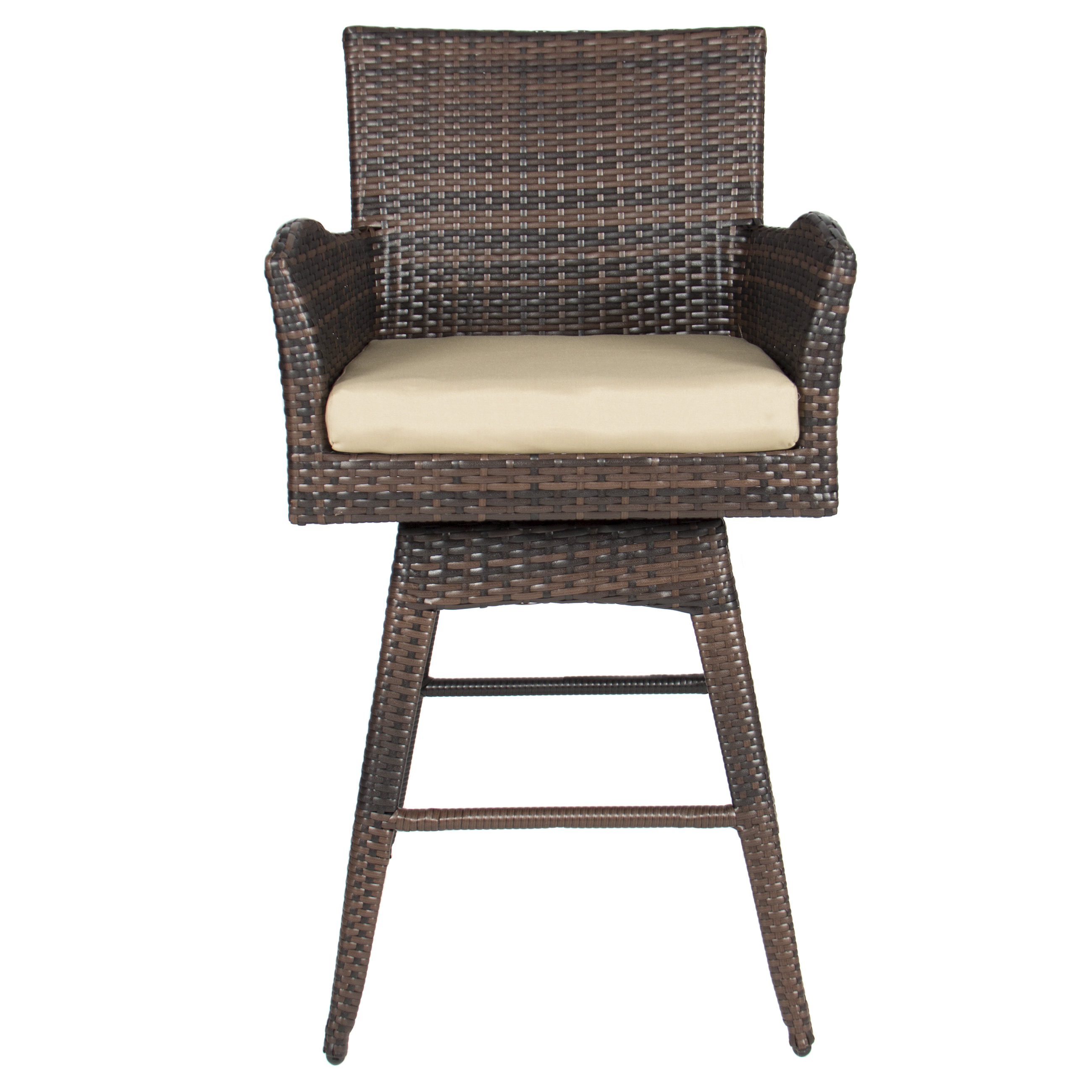 reputable site 352ec 1b1dd Best Choice Products Outdoor Brown Wicker Swivel Bar Stool w/ Cushion
