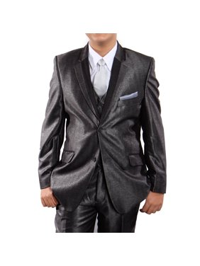 Boys Suit Modern Fit Solid Textured Three Piece Notch Lapel Suits With Free Matching Shirt & Tie