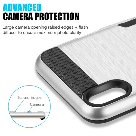 Insten Card To Go Dual Layer [Shock Absorbing] Hybrid Brushed Hard Plastic/Soft TPU Rubber with Slot Case Cover For Apple iPhone XR, Silver - image 2 of 6
