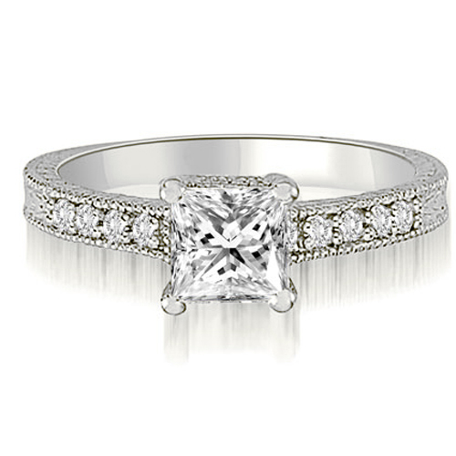 """0.65 cttw. 18K White Gold Milgrain Princess And Round Diamond Engagement Ring (I1, H-I)"""