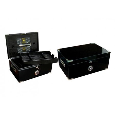 Black Finish Humidor - Dakota Desktop Cigar Humidor w/ Scissors - Deep Black Lacquer Finish - Capacity: 120