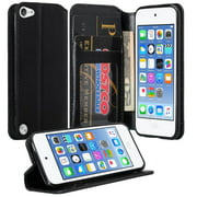iPod Touch 5 / Ipod Touch 6 Wallet Case, Slim Magnetic [Kickstand] Pu Leather Wallet Case with ID & Credit Card Slots for Apple iPod 5/6 Touch - Black