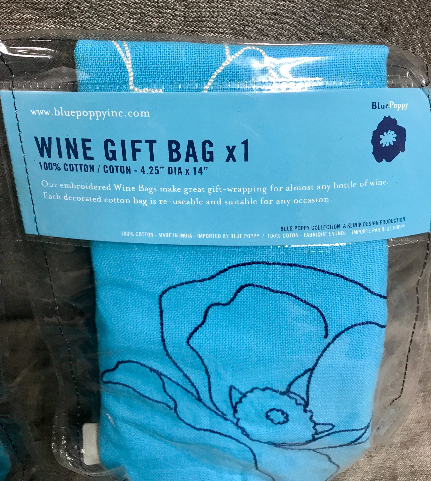 Lot of 3 Emroided Wine Gift Bags 100% Cotton Blue Poppy