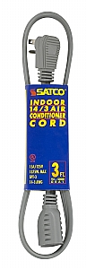 Satco #14 3 Ga Spt-3 Gray Air Conditioner Appliance Cord 3 Ft 14-3 Spt-3 Gray Cord with Sleeve 15A 125V 1875W by Satco