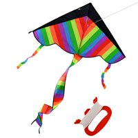 Latest Foldable Outdoor Sky Dancer Toy Kite 600D Polyester Fiberglass Triangle Flying Kite with Long Tail