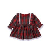 Christmas Toddler Kids Baby Girl Xmas Flared Party Santa Lace Swing Dress Clothes 1-6 Years