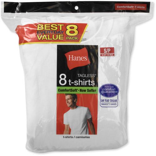 Hanes Men's Value Pack White Crew T-Shirt, 8-Pack
