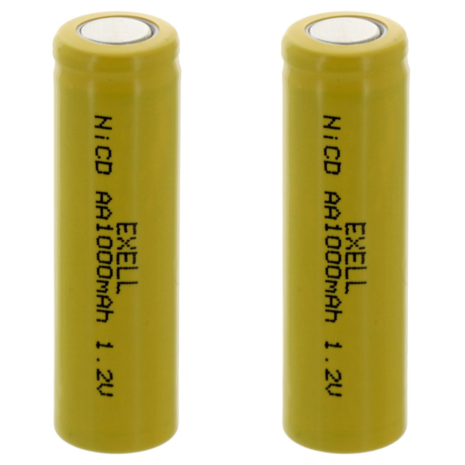 2x Exell AA 1.2V 1000mAh NiCD Flat Top Rechargeable Batteries FAST USA SHIP