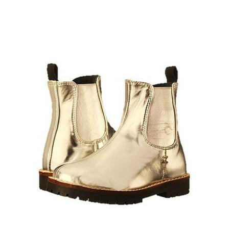Zara Gold Boots (Pazitos Girls Gold Metallic Patent Elastic Insert Chelsea)