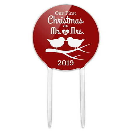 Acrylic Our First Christmas as Mr and Mrs 2019 Married Kissing Birds Red Background Cake Topper Party Decoration for Wedding Anniversary Birthday Graduation ()