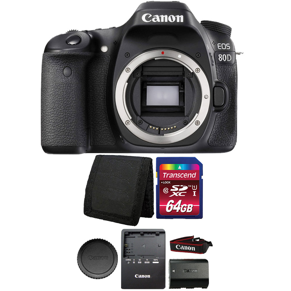 Canon EOS 80D 24.2MP Digital SLR Camera 64 GB Accessory Bundle