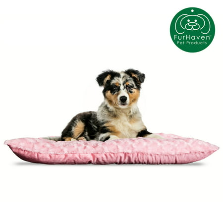 FurHaven Pet Kennel Pad | Ultra Plush Tufted Pillow Pet Bed for Crates & Kennels, Strawberry, Medium 24 Crate Pet Bed