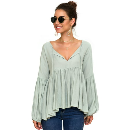 Women Long Sleeve Ruffle Frill Loose Bardot Tops Shirt Blouse Casual V-Neck Tee Top Ladies Swing Tunic Strappy Lace Up Casual Blouse T-Shirt Top Frill Neck Lizard