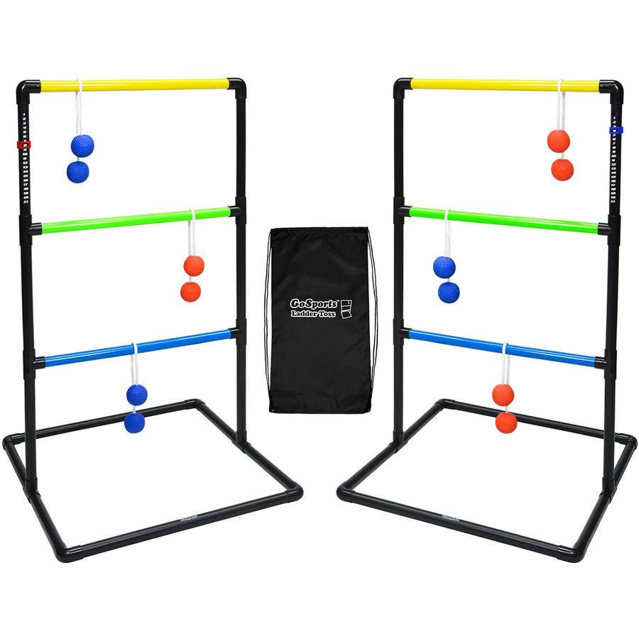 GoSports Indoor Outdoor Ladder Toss Game Set with 6 Rubber Bolos, Carrying Case and Score Trackers by P&P Imports LLC