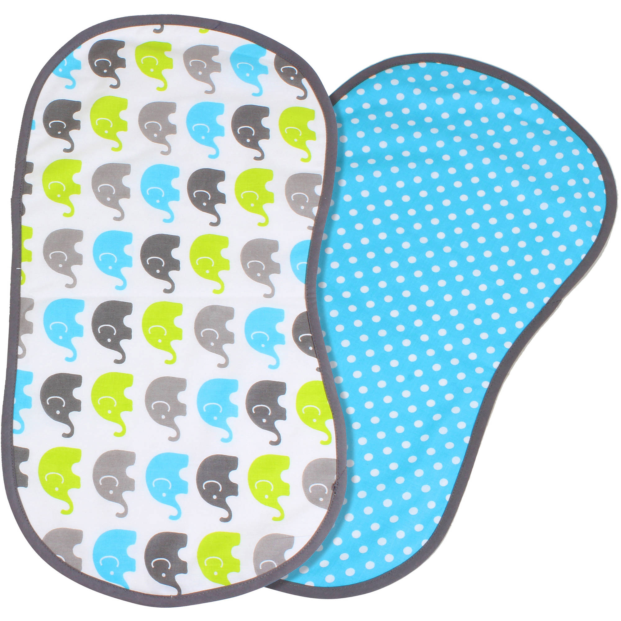 Bacati Burpies Burp Cloths, Aqua/Lime/Grey, 2 count
